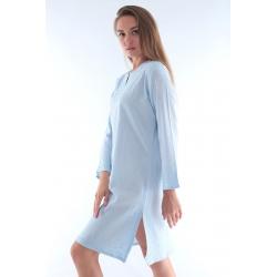 Mavi - Beyaz Otantik Buldan Bezi & Şile Bezi Batik Paraşüt Elbise