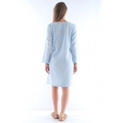 Turkuaz- Beyaz Otantik Buldan Bezi & Şile Bezi Batik Paraşüt Elbise