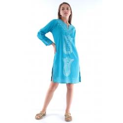 Lacivert - Beyaz Kırmızı - Beyaz Otantik Buldan Bezi & Şile Bezi Batik Paraşüt Elbise