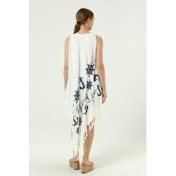 Yeşil Yarasa Kol İşlemeli Elbise
