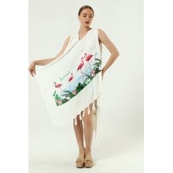 Mavi Yarasa Kol İşlemeli Elbise