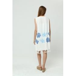 Bordo Yarasa Kol İşlemeli Elbise