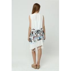 Lacivert Yarasa Kol İşlemeli Elbise